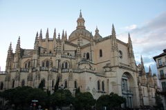 Cathedral of Segovia. Cathedral built between the sixteenth and eighteenth centuries in Gothic style which is known as the Lady of the Cathedrals Stock Images