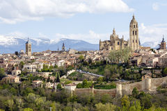 Cathedral of Segovia. With the Sierra de Guadarrama as background stock photos