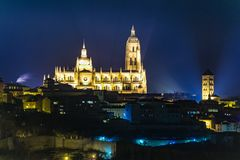 Cathedral of Segovia Spain. Late Gothic style called Lady of the Cathedrals stock photo