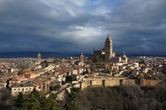 The Cathedral in Segovia, Spain. The Old Town in Segovia, Spain after the rain Royalty Free Stock Photography