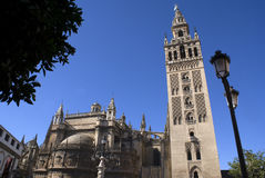 Cathedral of Sevilla, Spain. Tower of the famous Sevillan cathedral Stock Images