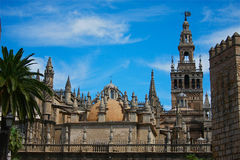 Cathedral at Seville. Cathedral in Seville, Spain, with wall of the Real Alcazar and palm and blue sky Stock Photography