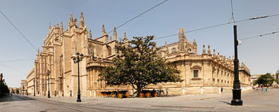 Cathedral of Seville. Panoramic of the Cathedral of Seville, overlooking two streets Stock Photos