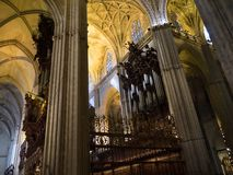 Interior of the Cathedral in Seville in Andalucia Spain. Cathedral of Seville. It is amongst the largest of all medieval and Gothic cathedrals, The interior is Royalty Free Stock Images