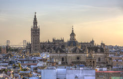 The Cathedral of Seville, Andalusia, Spain. Image at the sunset of the great Cathedral of Seville in Andalusia, Spain. This is a symbolic landmark of Seville and Royalty Free Stock Photo