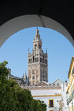 Cathedral in Seville. The bell tower of the Gothic Cathedral in Seville Royalty Free Stock Photos