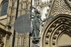 Cathedral Seville Cathedral statue and architectural detail royalty free stock image