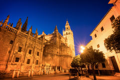 The cathedral of Seville and la Giralda by night, Spain. The cathedral of Seville and la Giralda by night, Andalusia, Spain Royalty Free Stock Photo