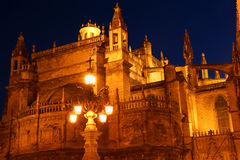 Cathedral of Seville by night Stock Images