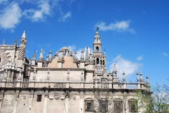 Cathedral of Seville. Partial view of the facade of the cathedral of Seville Royalty Free Stock Photo