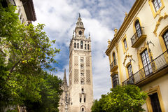 Cathedral of Seville, Spain. And the tower La giralda Stock Photos