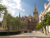 Cathedral of Seville, Spain. And the tower La giralda Royalty Free Stock Images