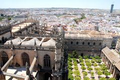 The Cathedral of Seville view from its bell tower Royalty Free Stock Photos