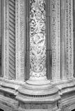 Cathedral of Siena, marble column detail. Black and white photo Royalty Free Stock Image