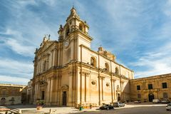 Cathedral in SIlent City of Mdina,Malta.  Stock Photo
