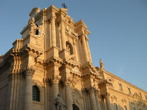 The Cathedral of Siracusa. The Baroque style of Siracusa's Cathedral, in Sicily Stock Image