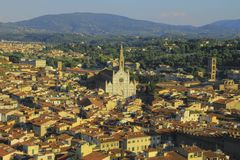 Cathedral sits amongst the city of Florence, Italy stock image