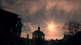 Cathedral on sky background. stock video footage