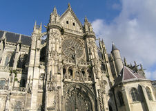 Cathedral in small french city. Senlis Stock Images