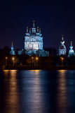 Smolny cathedral on Neva embakment in Saint Petersburg. A quiet summer night in the city Stock Photography
