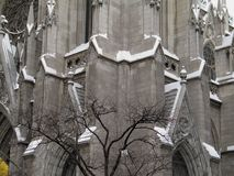 Cathedral In Snow. St. Patrick's Cathedral wall after a snowfall royalty free stock photos