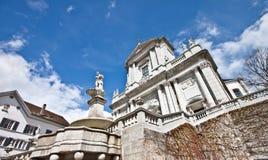 Cathedral of Solothurn 2. Cathedral of Solothurn with cloudy sky, Switzerland stock image