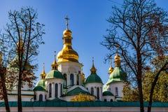 Cathedral of Sophia square in Kiev Kiev, Ukraine 06.11.2018. The ancient cathedral in St. Sophia Square in Kiev Kiev, Ukraine 06.11.2018 stock images
