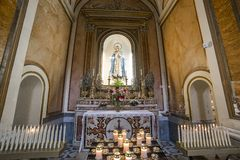 The cathedral of Sorrento campania, Italy. Interiors and details of the Duomo, cathedral of Naples, built 14th century for saint Januarius, camapnia, Italy, May Stock Photo