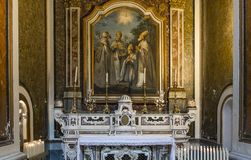The cathedral of Sorrento campania, Italy. Interiors and details of the Duomo, cathedral of Naples, built 14th century for saint Januarius, camapnia, Italy, May Royalty Free Stock Images
