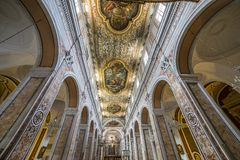 The cathedral of Sorrento campania, Italy. Interiors and details of the Duomo, cathedral of Naples, built 14th century for saint Januarius, camapnia, Italy, May Stock Photos