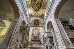 The cathedral of Sorrento campania, Italy. Interiors and details of the Duomo, cathedral of Naples, built 14th century for saint Januarius, camapnia, Italy, May Stock Photography
