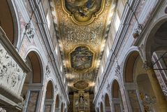 The cathedral of Sorrento campania, Italy. Interiors and details of the Duomo, cathedral of Naples, built 14th century for saint Januarius, camapnia, Italy, May Stock Image
