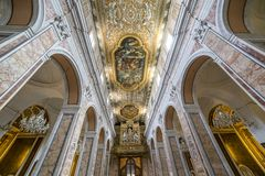 The cathedral of Sorrento campania, Italy. Interiors and details of the cathedral of Sorrento ; near Naples, camapnia, Italy Stock Photography