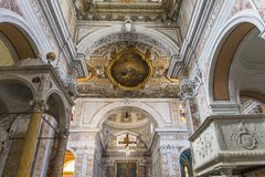 The cathedral of Sorrento campania, Italy. Interiors and details of the cathedral of Sorrento, near Naples, camapnia, Italy Stock Photo