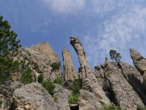 Cathedral Spikes, Needle\'s Highway, South Dakota. Close upward shot of dramatic rock formations at the Cathedral Spires at Needles Highway in Custer State Park stock photos