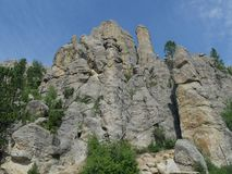 Cathedral Spikes, Needle\'s Highway, South Dakota. Close upward view of the Cathedral Spires rock formations, along the road at Needles Highway in Custer State royalty free stock images