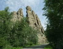 Cathedral Spikes, Needle\'s Highway, South Dakota. Imposing Cathedral spires along the road at Needles Highway in Custer State Park, South Dakota royalty free stock images