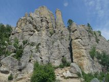 Cathedral Spikes, Needle\'s Highway, South Dakota. Medium close up of the rock formations at Cathedral Spires trailhead at Needles Highway in Custer State Park royalty free stock images