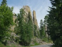 Cathedral Spikes, Needle\'s Highway, South Dakota. Roadside view to the Cathedral spires along the road at Needles Highway in Custer State Park, South Dakota royalty free stock photos