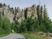 Cathedral Spikes, Needle\'s Highway, South Dakota. Scenic drive in South Dakota with a view of granite mountains and rock formations along Needles Highway royalty free stock photo