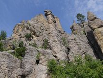 Cathedral Spikes, Needle\'s Highway, South Dakota. Spectacular upward view of the Cathedral Spires rock formations along the road at Needles Highway in Custer royalty free stock photography