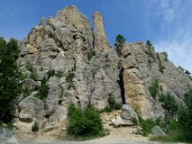 Cathedral Spikes, Needle\'s Highway, South Dakota. Cathedral Spires trailhead, along the road at Needles Highway in Custer State Park, South Dakota royalty free stock photos