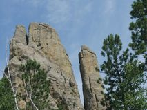 Cathedral Spikes, Needle\'s Highway, South Dakota. Tops of imposing rock formations at the Cathedral spires, Needles Highway in Custer State Park, South Dakota royalty free stock photo