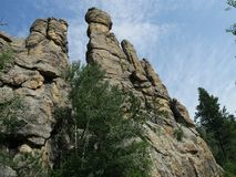 Cathedral Spikes, Needle\'s Highway, South Dakota. Upward shot of the spectacular Cathedral spires along the road at Needles Highway in Custer State Park, South stock images