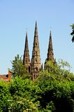 Cathedral spires, Lichfield, England. Royalty Free Stock Images