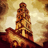 Cathedral Of Split. Digital painting of the cathedral church of Split, Croatia stock illustration
