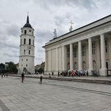 The Cathedral Square and Bell tower in Vilnius, Lithuania royalty free stock images