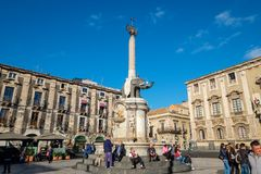 Cathedral Square. Catania, Sicily, Italy stock photography