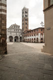 The cathedral square and the cathedral st. martin lucca tuscany Italy europe Stock Image