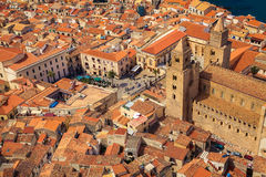 Cathedral Square of Cefalu from above Royalty Free Stock Photo